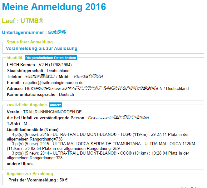 Anmeldung UTMB 2016 kraeuseln